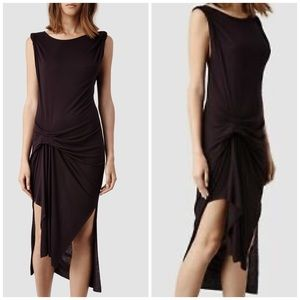 All Saints black Riviera Tavi twist front dress
